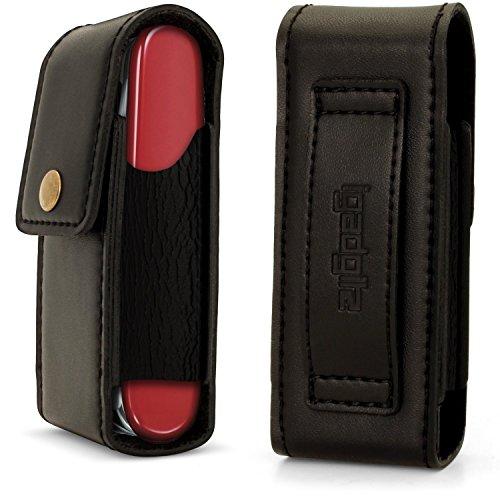 igadgitz Schwarz Echt Leder Tasche Etui Schutzhülle für Schweizer Taschenmesser (Kompatibel mit Victorinox)