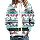CLOOM Sudadera Navidad Mujer Casual Gracioso Blusa Santa Claus Impresión Abrigo con Capucha Realistic 3D Impreso Cordón Pullover Hoodie Jerseys Outwear para Christmas Nochebuena