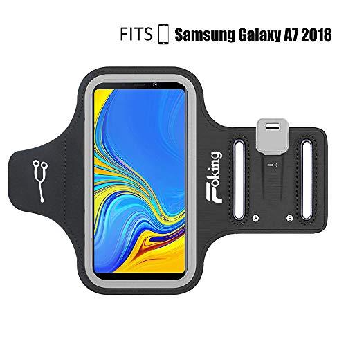 Fascia da braccio sportiva per Samsung Galaxy A7 2018, multifunzione, con misura regolabile, design sicuro, ideale per fitness, palestra, trekking, jogging, ciclismo