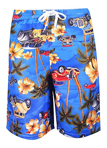 MissFox Herren Schnelltrocknend Badehose Beachshorts Badeshorts Auto Blume Print Blau