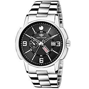 EDDY HAGER Time Teacher Display Black Dial Day and Date Men's Watch