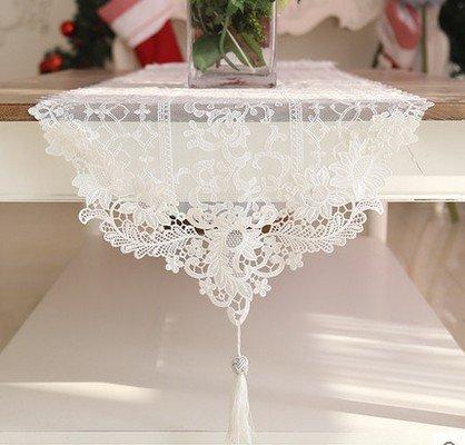 ode koreanischen Stil Luxus Spitze Tabelle Tabelle Läufer Fluss Solel Draht Anhänger weiß Couchtisch , white , 180*42 Tischdecke ()