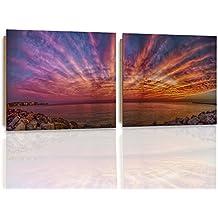 Feeby. Wandbilder - 2 Teile - 140x70 cm - quadratische Form Bilder Kunstdrucke Deko Panel MERR, KÜSTE, NATUR, VIOLETT
