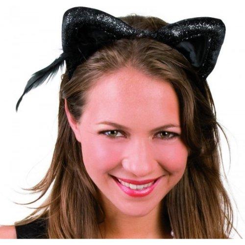 Kopfbügel Samt Katzenohren (Katzenohren Kostüm)