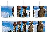 Moai Statuen auf den Osterinseln am Tag inkl. Lampenfassung E27, Lampe mit Motivdruck, tolle Deckenlampe, Hängelampe, Pendelleuchte - Durchmesser 30cm - Dekoration mit Licht ideal für Wohnzimmer, Kinderzimmer, Schlafzimmer