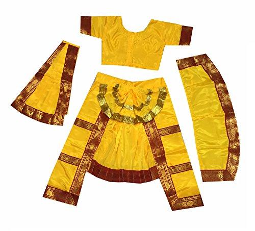 Fancy Steps Original Double Fan Classical Bharatanatya Dance Fancy Dress Costumes, 14 to 16 Years, Yellow