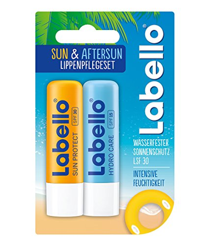 Labello Sun & Aftersun Lippenpflegeset im 3er Pack (3 x Doppelpack), Lippenpflegestift Set bestehend...