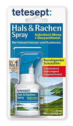 tetesept Hals & Rachen Spray - Spray mit Isländisch Moos und Dexpanthenol - zur Befeuchtung & Linderung bei Halsschmerzen, Husten und Heiserkeit - 1 x 30 ml