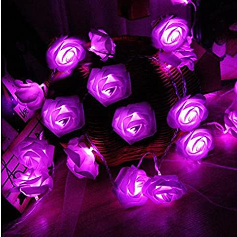 Rose Fleur Fairy Lights, Morbuy 20LED/30LED/40LED/50LED Rose Flower Fairy String Lights pour le festival de mariage Garden Party Articles de décoration de Noël (3M/30LED, Violet)