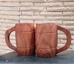 ADA Handicraft Wooden Beer Mug, 10 oz Handmade Eco-Friendly Wooden Mugs with Handle for Wine/Coffee/Tea, Best Gift Cups for Men/Women(One Piece)