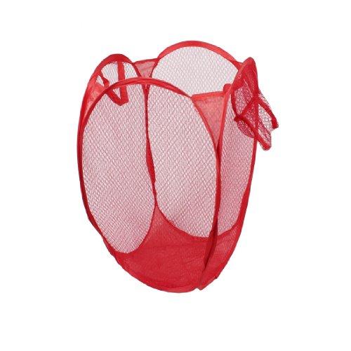 sourcingmap® Dragonnes Meshy rangement pliable pour vêtements Rangement Panier à linge Rouge