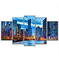 sxkdyax (No frame) Canvas Wall Art Pictures Home Decor 5 Pieces Chicago City Night View Paintings HD Prints Beautiful River City Building Posters