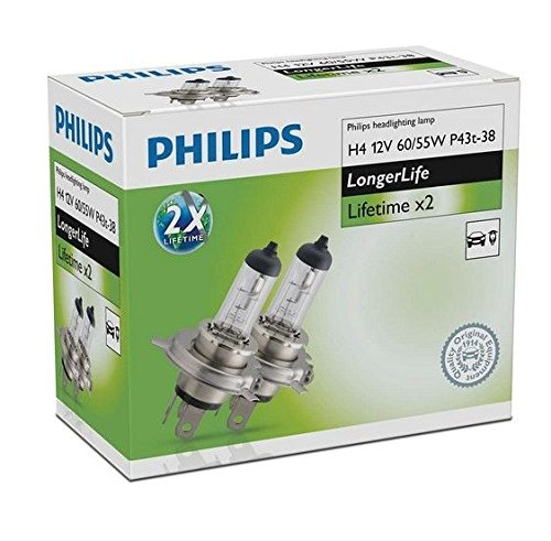 Philips 12342elc2 H4 12 V 60/55 W P43T longerlife Lot de 2 Lifetime x2 halogène