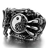 Epinki,Mode Schmuck Herren Große Edelstahl Ringe CZ Silber Schwarz Drachen Yin Yang Gotisch Biker Size 8