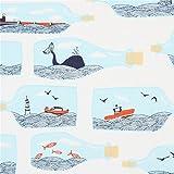 Weißer Stoff mit Flaschen gefüllt mit Walen Meer Booten