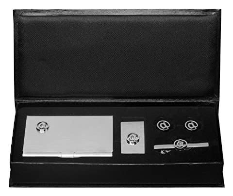 Visol Email Business Card Case, Money Clip, Cufflinks and Tie Bar Gift Set (VSET825)