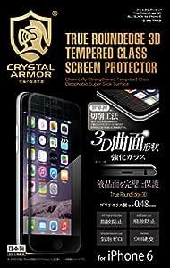 Écran Armure cristal bord rond 3D en verre trempé Protéger Autocollant pour iPhone 6s / 6 (Noir)