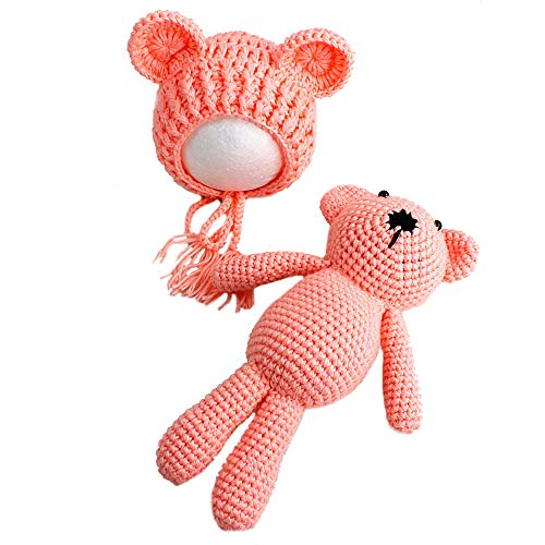 Verkauf Hüte Zum Kostüm - YICANG Baby Cartoon Strickmütze + Bär Spielzeug Neugeborene Bär Kleidung Fotografie Requisiten Kleidung Kleidung Taufe Geschenk Set für 0-3 Monate Gr. Einheitsgröße, Rose