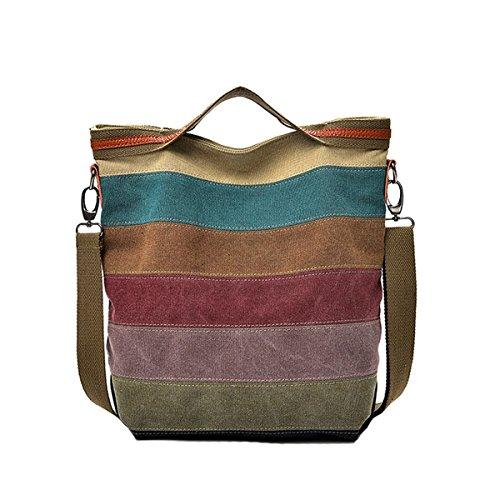 2febd2225f02a Defeng Canvas Schultertasche Umhängetasche Bunte Streifen Damentasche  Messenger Damenhandtasche.