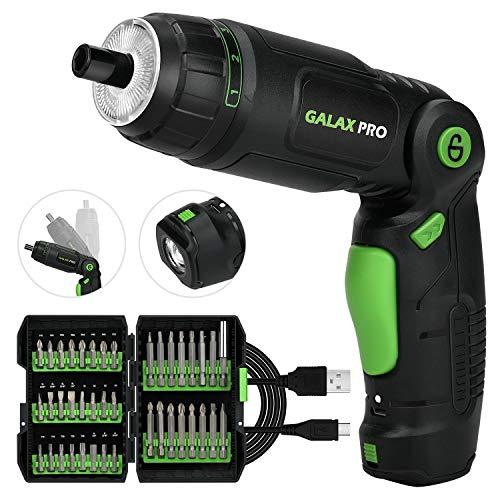 Akkuschrauber, 4.2Nm Max. Drehmoment GALAX PRO 2000mAh 3,6V Li-Ion Akku mit 40 Zubehörteilen, LED-Licht und Taschenlampe, Ladeadapter mit USB Kabel und Aufbewahrungsbox für Schrauben
