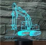 3D A Mené L'Excavatrice De Digger De Machines D'Excavation De Lumière De Nuit Avec La Lumière De 7 Couleurs Pour La Visualisation À La Maison De Lampe Étonnante