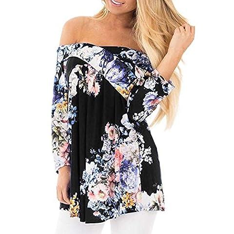 Overdose,Grande Taille Femme Casual Tops éPaules DéNudéEs Bardot Style Blouse Imprimé Floral Off Shoulder Shirt (XXXL, Noir)