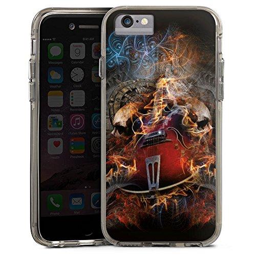 Apple iPhone 7 Bumper Hülle Bumper Case Glitzer Hülle Gitarre Totenkopf Skull Bumper Case transparent grau