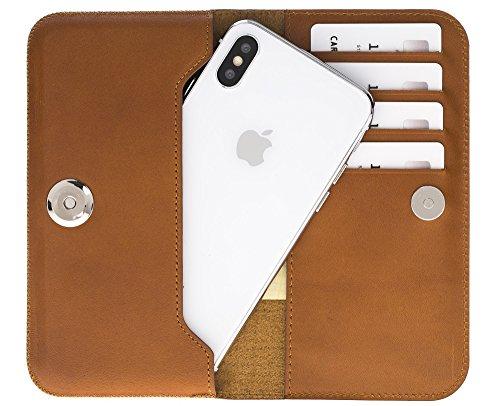 Solo Pelle Lederhülle I Leder Tasche passend für das iPhone X/XS I P30 I Galaxy S9 I A8 (2018) I und Geräte bis 5,8 Zoll aus echtem Leder in Cognac Braun - Cognac-reise-brieftaschen