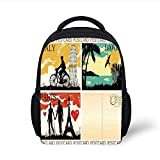 Kids School Backpack Retro,Postcards from Italy Hawaii Paris Exotic Places in The World Nostalgic Times Print Decorative,Multicolor Plain Bookbag Travel Daypack