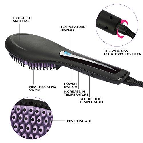 Besmall Alisador de Pelo Cepillo Cepillo de pelo eléctrico automático profesional para enderezar pelo  con pantalla LCD