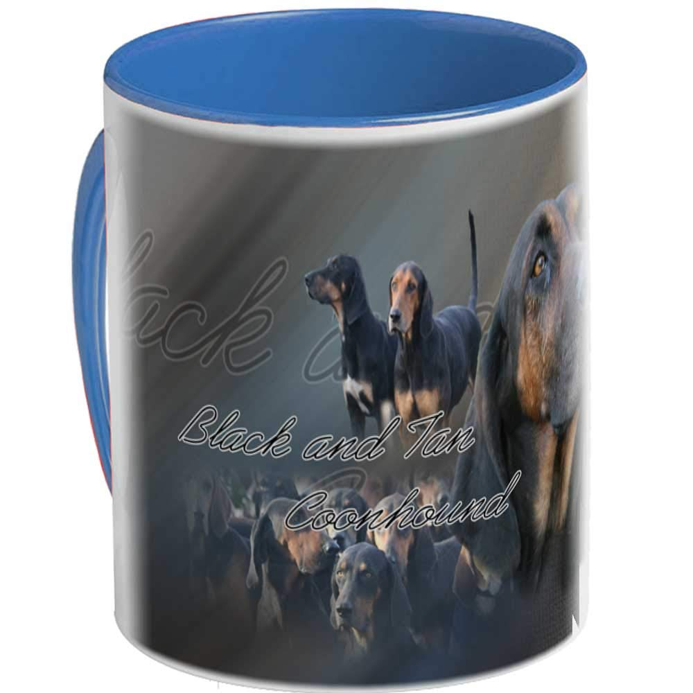 Mug Ceramic Dog black-and-tan-coonhound, blue
