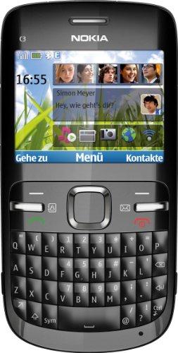 Nokia Nokia C3-00 Smartphone (6.1 cm (2.4 Zoll) Display, Bluetooth, 2 Megapixel Kamera) black