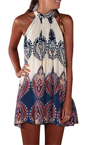 Sexy Ohne Arm ärmelloser Geblümt Blumenmuster Barock Ethnisch Stammes Afrikanisch Paisley Mini Minikleid Babydoll Hängerkleid Trapez Mutterschaft Tunikakleid Dress Kleid S (Mini-paisley-tunika)