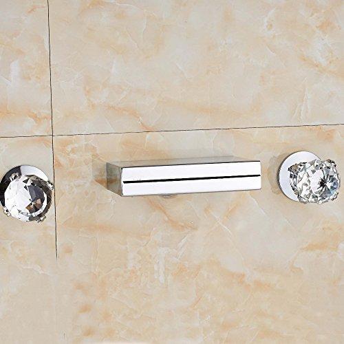 TougMoo Cascade Chrome contemporain carré pour baignoire Robinet mélangeur de lavabo en cristal céramique Poignées MÉLANGEUR Bec