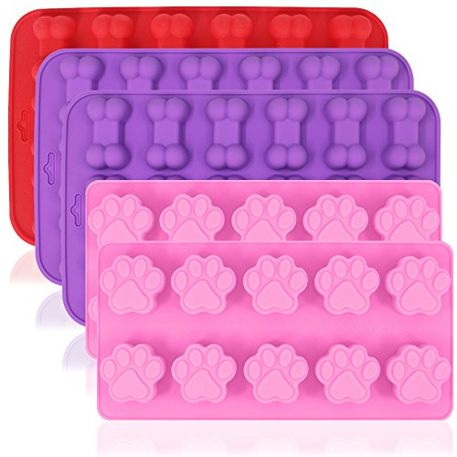 AIFUDA 5Stück Silikon Schokolade Candy Formen, Puppy Paw & Bone Antihaft Backen Formen Ice Cube Tabletts, Um Gumdrop Jelly Kuchen Muffin Cupcake-Pink, Violett, Rot