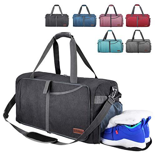 CANWAY Faltbare Reisetasche faltbar leichte Sporttasche mit Abnehmbarem Schulterriemen und Schuhfach Reisegepäck für Reisen Sport Gym Urlaub mit der Großen Kapazität (Schwarz, 65L)