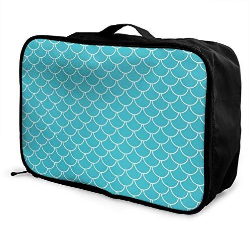 Qurbet Reisetaschen,Reisetasche, Travel Lightweight Waterproof Foldable Storage Carry Luggage Duffle Tote Bag - Teal Blue Mermaid Scales - Passport Travel Tote