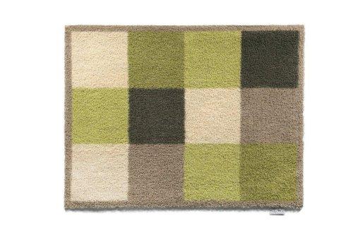 Bosmere Hug Rug Fußmatte T120, umweltfreundlich, saugfähig, für den Innenbereich, waschbar, 64,8cm x 85,1 cm, Motiv: Getopfte Herzen, Green/Cream Check, 25.5-Inch x 33.5-Inch