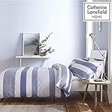 Catherine Lansfield Newquay Stripe Set Copripiumino, Policotone, Blue, Singolo