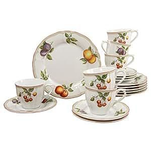 Creatable 17030 Flora Orchard Service à Café Porcelaine Multicolore 38 x 21 x 25 cm Lot de 18