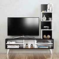 LILY Set Soggiorno - Parete Attrezzata - Mobile TV Porta con mensola in moderno design (Nero - Bianco)