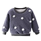 Baby Girls Thick Pullover Fleece Jumper Sweatshirt Lonshell Thermal Warm Tee Shirt Tops 1-5 Years Kids Winter Casual Long Sleeve Round Neck Blouse Sweater