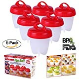 Krevia 6 Pack Egg Cooker,Hard & Soft Maker,Egg Cups,No Shell,BPA Free,Non Stick Silicone,Boiled,As Seen On TV