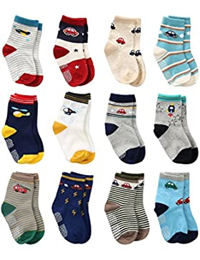 Cottock 12 Paar Kleinkind Jungen ABS Rutschfeste Socken Nette Baumwolle mit Griffen, Baby Jungen Anti-Rutsch-Socken...