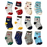 12 Pairs Toddler Boy Non Skid Socks Cute Cotton with Grips, Baby Boys Anti-skid Socks (1-3 Years, 12 Pairs Plane & Car)