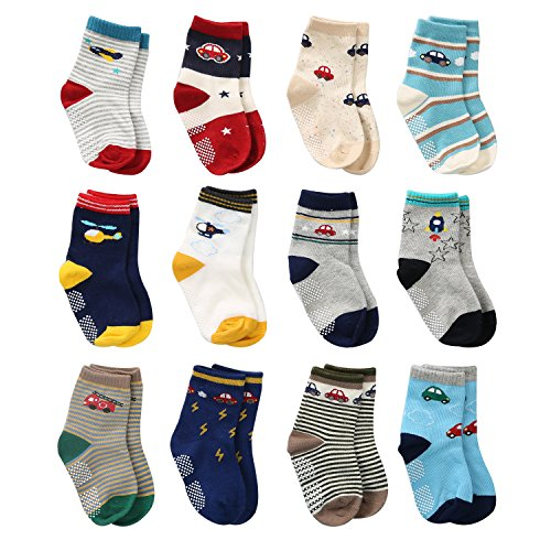 b4197acdebd04 12 Pairs Toddler Boy Non Skid Socks Cute Cotton with Grips, Baby Boys  Anti-skid Socks (1-3 Years, 12 Pairs Plane & Car)