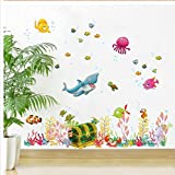 HALLOBO® Wandtattoo Fisch Ozean Meer See Schatz Meeresschildkröte Krake Hippocampus Wandaufkleber Bad Wandsticker Wall Sticker Wohnzimmer Schlafzimmer Deko