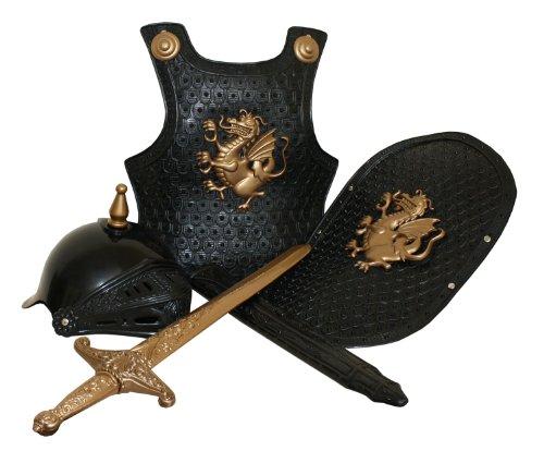 Idena 8210419 - Ritterrüstung Drachentöter schwarz, 4 teilig, Helm, Schwert, Brustpanzer, Schild