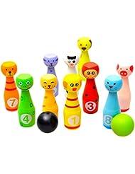 Boule de bowling en bois de Massif, 2balles et 10broches, motif animaux