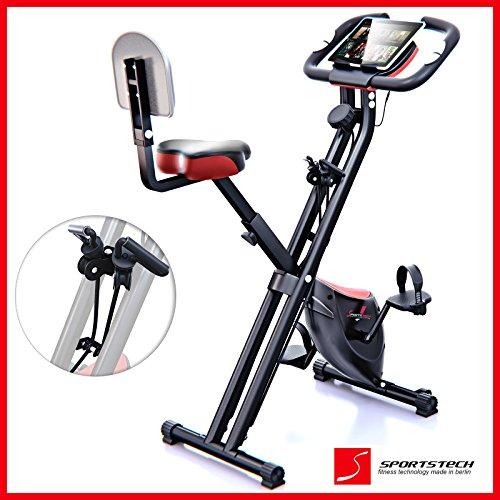 Sportstech Bicicleta estática Plegable F-Bike X100-B con Sistema de Resistencia Inteligente, Respaldo...